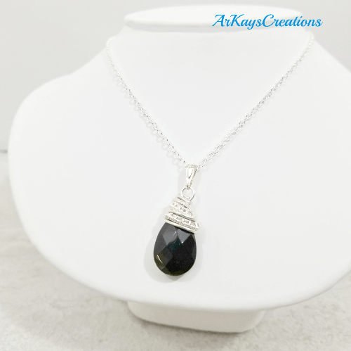 Wire Wrapped Crystal Teardrop Necklace, Wife Gift
