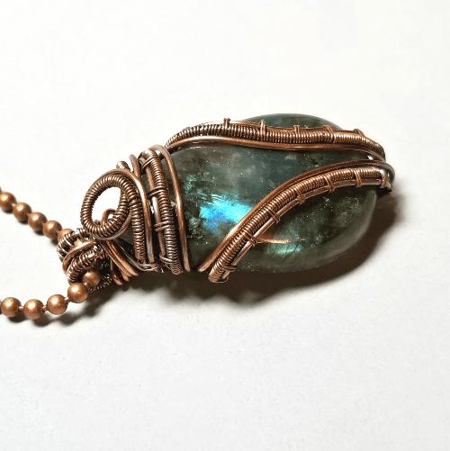 Wire Wrapped Labradorite Pendant, Gemstone Necklace