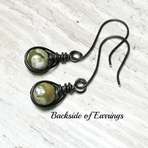 Rhyolite Wire Wrapped Earrings, Black Jewelry