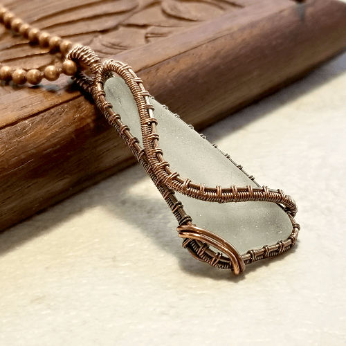 Wire Weave Glass Pendant, White Sea Glass Jewellery, Beach Glass Necklace