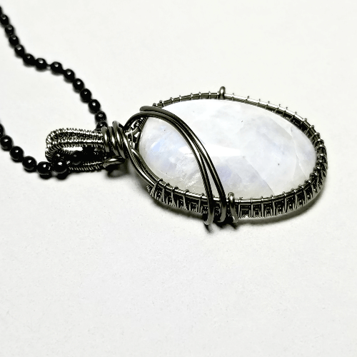 Rainbow Moonstone Necklace, Black Moonstone Jewelry