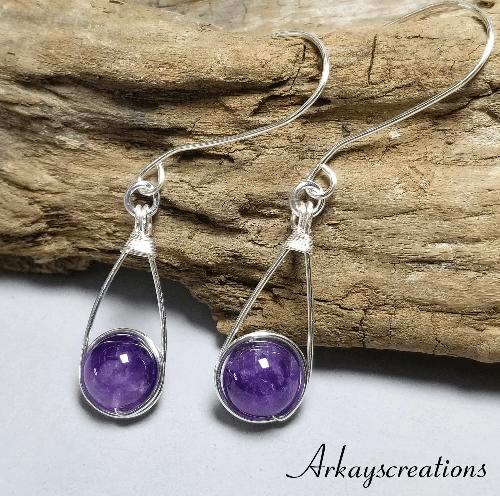 Amethyst Earrings Dangle, Dark Purple Jewelry