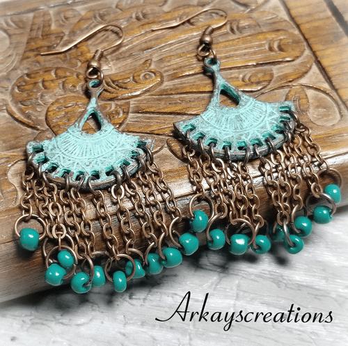 Bohemian Dangle Earrings, Gypsy Tribal Jewelry