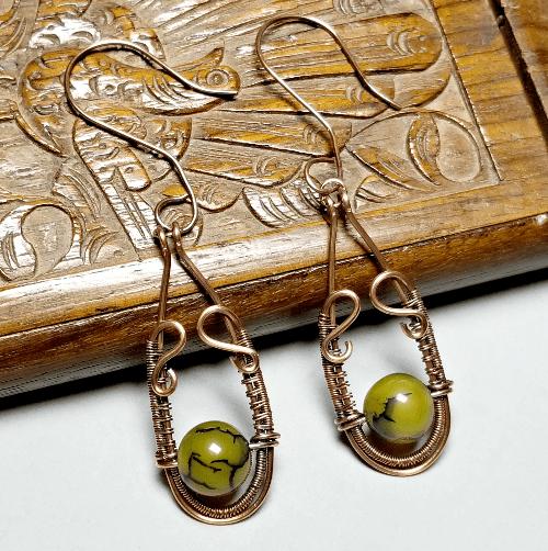 Dragon Vein Wire Wrapped Earrings, Copper Earrings