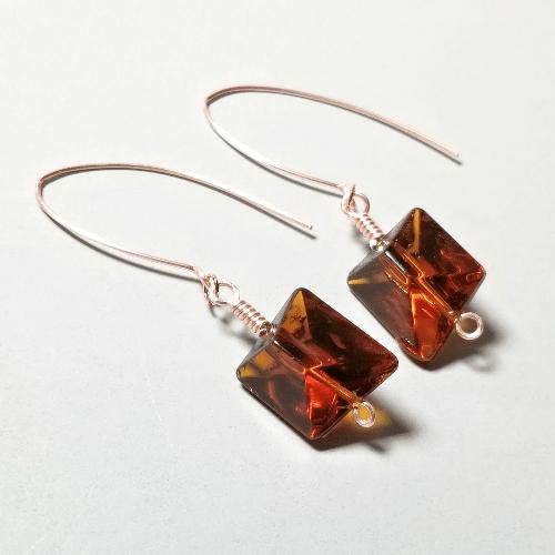 Simple Earrings, Fall Earrings, Glass Jewelry