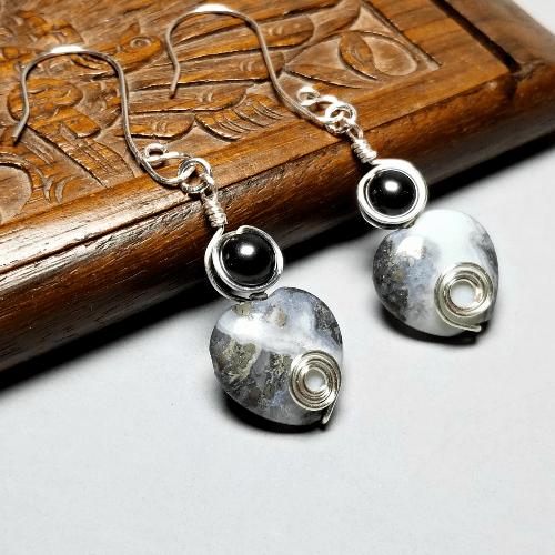 Wire Wrapped Amazonite Earrings, Gemstone Jewelry