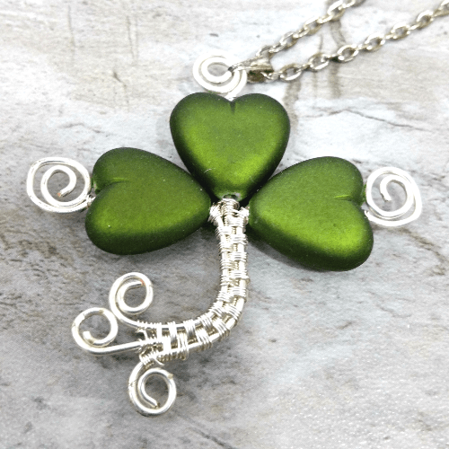 Wire Wrapped Shamrock Necklace, Good Luck Jewelry, Shamrock Gift Idea