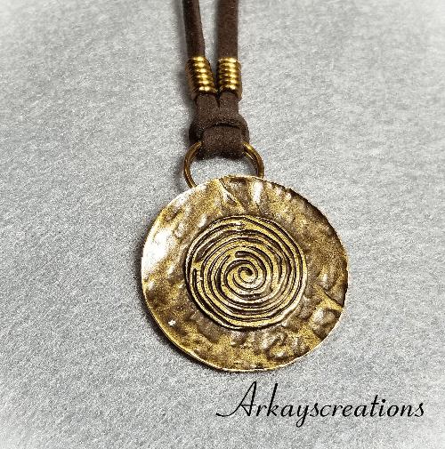 "Bronze Spiral Necklace, Men's Jewelry, Women""s Gift"