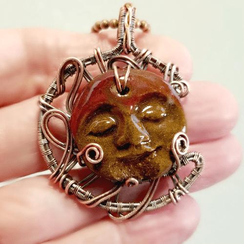 Wire Wrap Moon Pendant,  Wire Jewelry