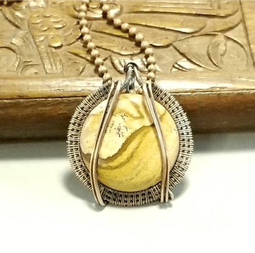 Jasper Pendant Gemstone Necklace, Copper Jewelry