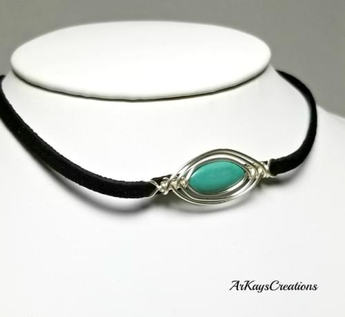 Turquoise Boho Choker Necklace, Southwestern Choker, Gypsy Jewelry, As Seen on TV