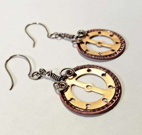 Steampunk Statement Earrings, Industrial Jewelry, Gear Dangle Earrings