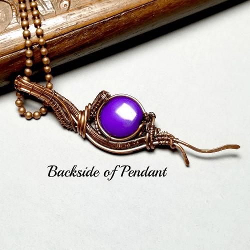 Wire Wrapped Stone Necklace, Purple Jewelry