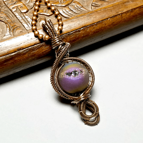 Wire Weave Agate Druzy Necklace, Peacock Color Jewelry