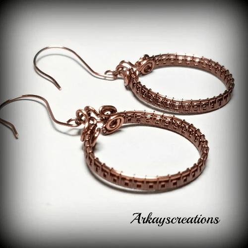 Wire Weave Hoop Earrings,  Copper Jewelry Gift for Her