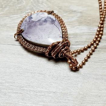 Rare Tiffany Stone Pendant Necklace,  Wire Weave Copper Jewelry