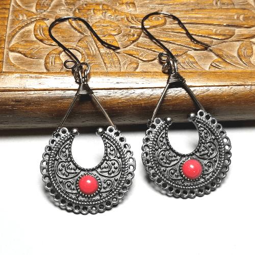 Gunmetal Boho Tribal Earrings, Ethnic Jewelry