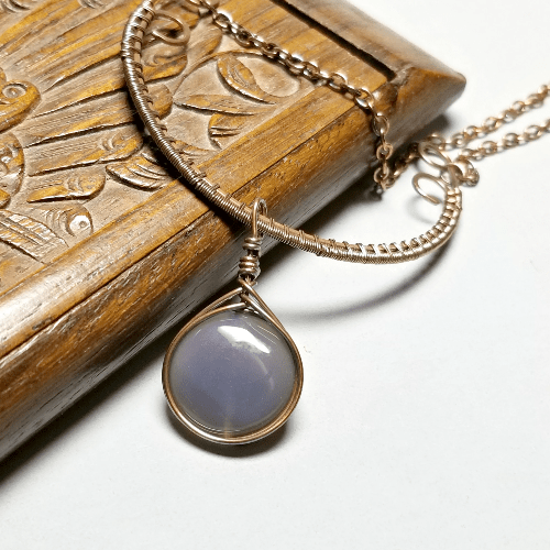 Wire Weave Elven Jewelry, Wire Wrap Stone Necklace