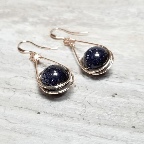 Rose Gold Glitter Earrings, Galaxy Earrings, Blue Goldstone Navy Blue Jewelry