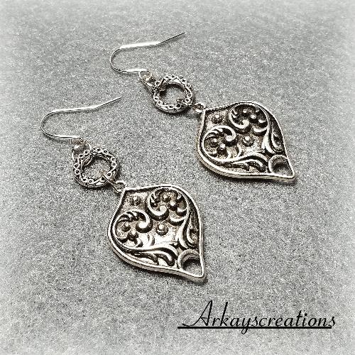 Victorian Earrings Antique Style, Art Deco Filigree Jewelry