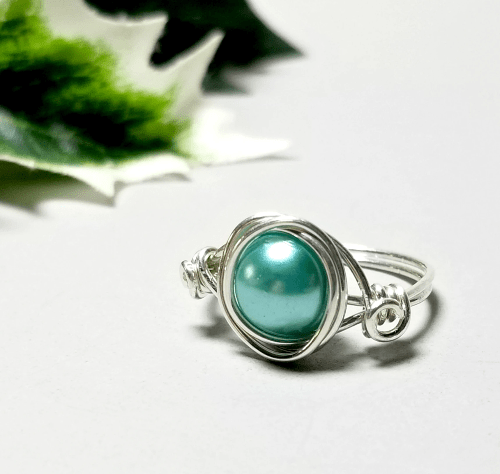 Stacking Ring, Sterling Silver Pearl Ring, Gift Idea for Women
