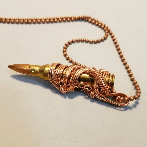 Mens Bullet Necklace, Wire Woven Bullet Pendant, Steam punk Jewelry