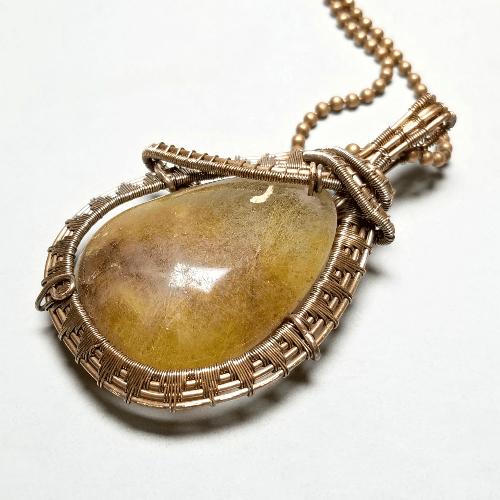 Rutilated Quartz Necklace, Boho Crystal Necklace, Quartz Jewelry