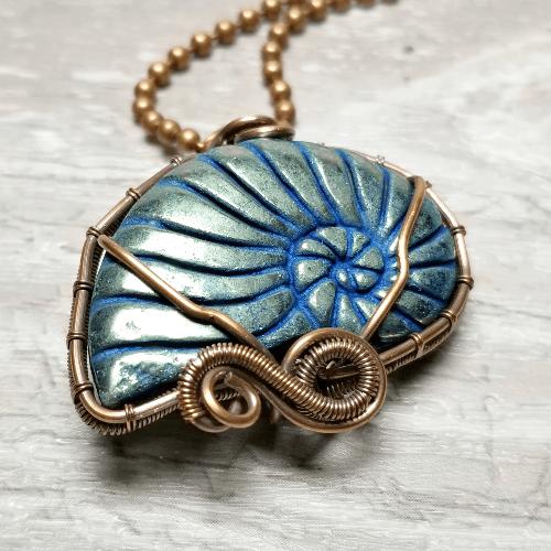 Seashell Necklace, Conch Jewelry, Pyrite Pendant