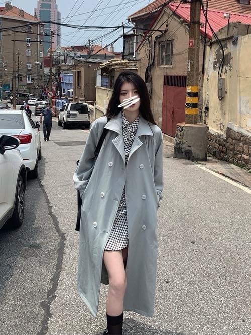 Asakawa wine a trench coat women 2021 New Korean all-match fried street top small long autumn coat