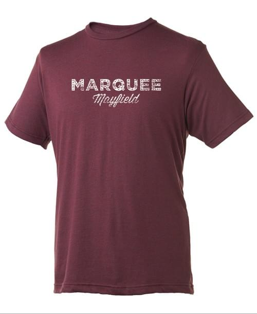 Marquee distressed logo unisex tee in berry