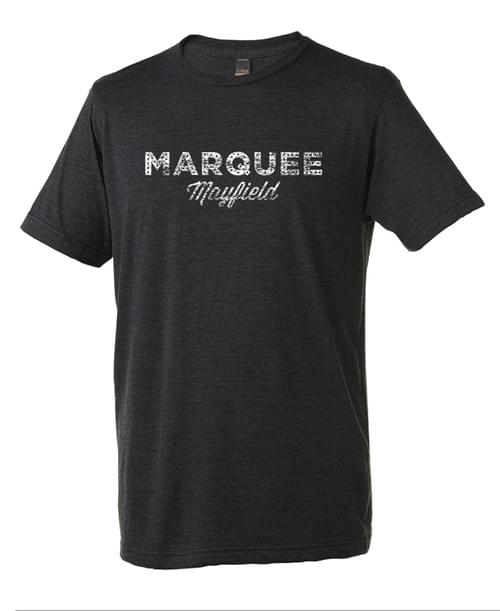 Marquee distressed logo unisex tee in graphite