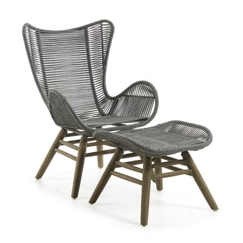 KUBIC Armchair footrest eucalyp grey wash rope grey