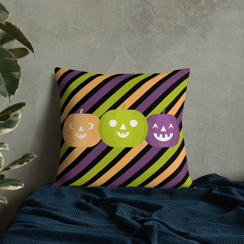Pumpkins and Stripes Throw Pillow