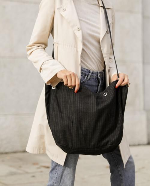Easy borsa pieghevole e reversibile in gessato con manici corti o lunghi in tessuto tecnico