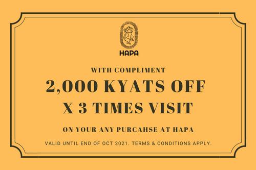 2,000 Kyats OFF x 3 Times Visit Cash Voucher
