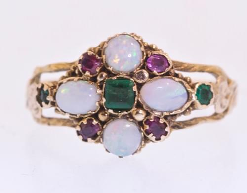 Opal , amethyst and emerald ring