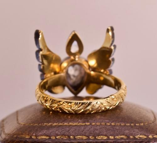 Flaming heart wing ring