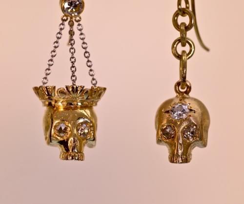 old skull earrings