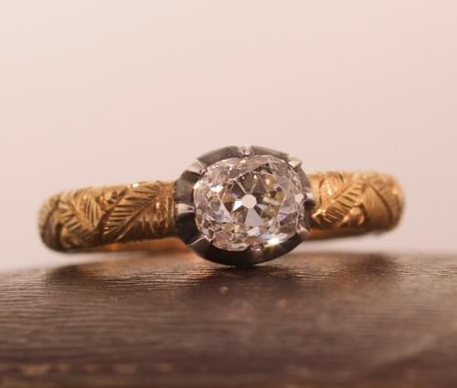 Old mine Diamond single stone ring