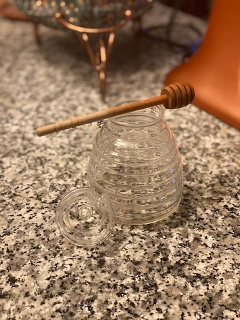 Clear Glass Honeycomb Design Honey Pot with Wand