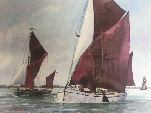 Spritsail barges on the Orwell