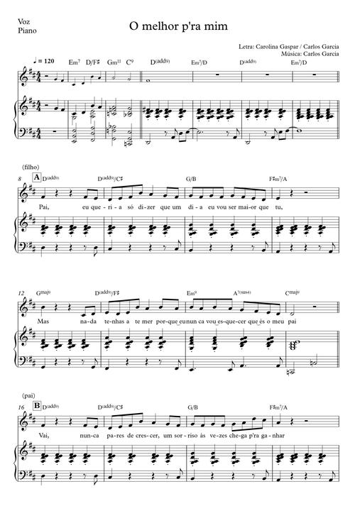 O melhor p'ra mim | voice, piano