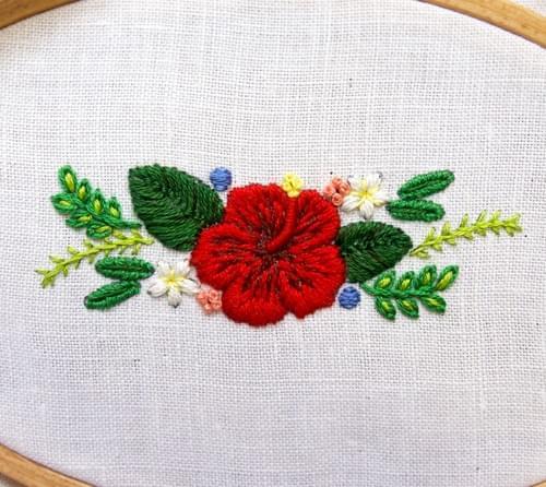 ハイビスカスのリボン刺繍のレシピ