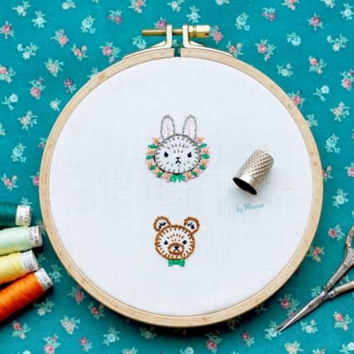 レッスン用キット(刺繍ワッペン うさぎorクマ)