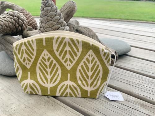 Geometric Leaves on Olive Green/Cream inside Small Curvy Zip Pouch