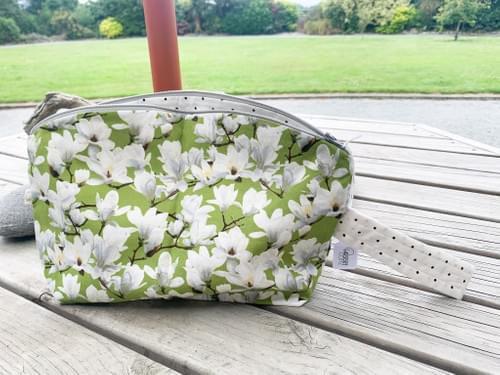 Magnolias on Green / Cream with Black Dot Medium Curvy Zip Pouch
