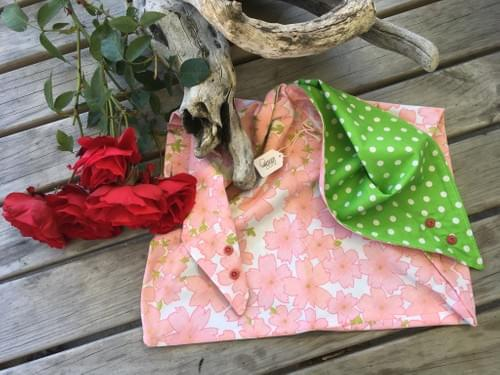 Pink Floral on White/Green Spots Large Project Bag