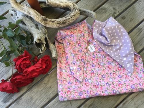 Pink & Purple Floral/Purple Spot Large Project Bag