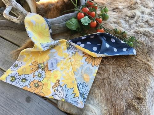 Yellow and Orange Floral/Dark Grey Spot Small Project Bag