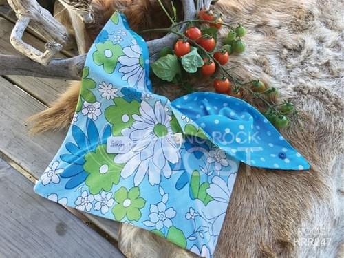 Green and Blue Flowers/Aqua Spot Small Project Bag